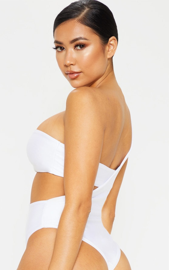 Petite White Asymmetric Swimsuit 2