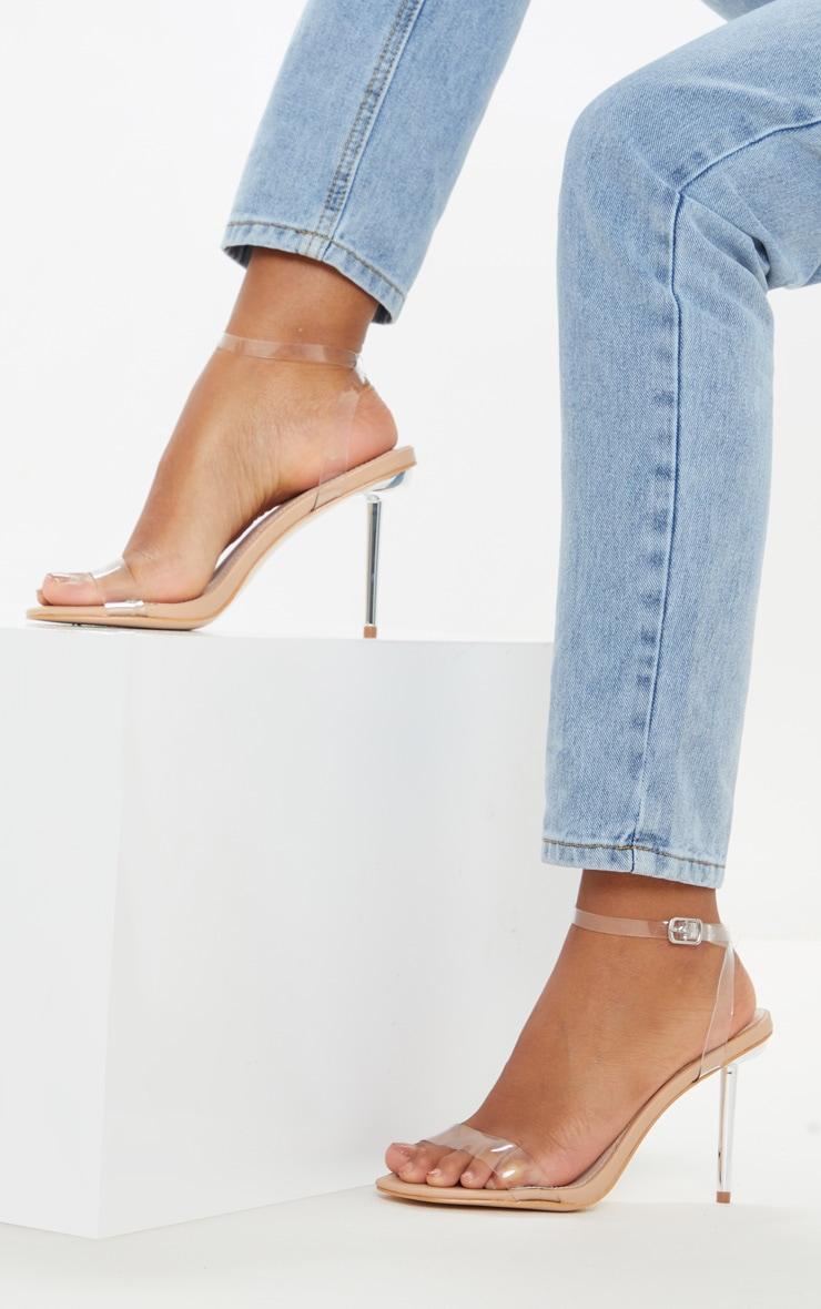 Sandales nude à talon aiguille métallique et brides transparentes 1