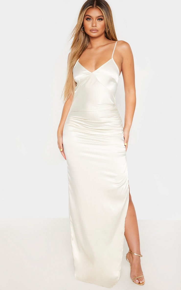 Cream Strappy Satin Ruched Split Leg Maxi Dress 1