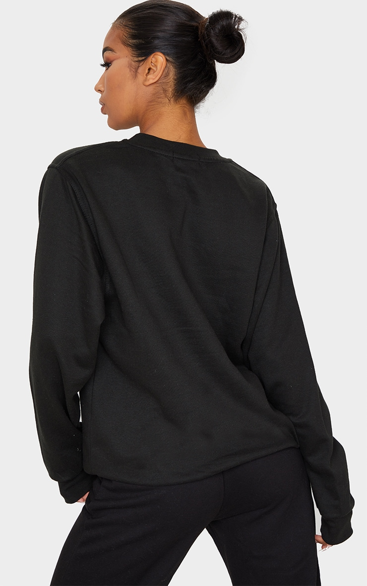 PRETTYLITTLETHING Black Embroidered Oversized Sweater 2