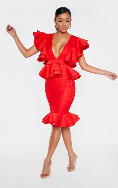 Red Ruffle Detail Plunge Midi Dress