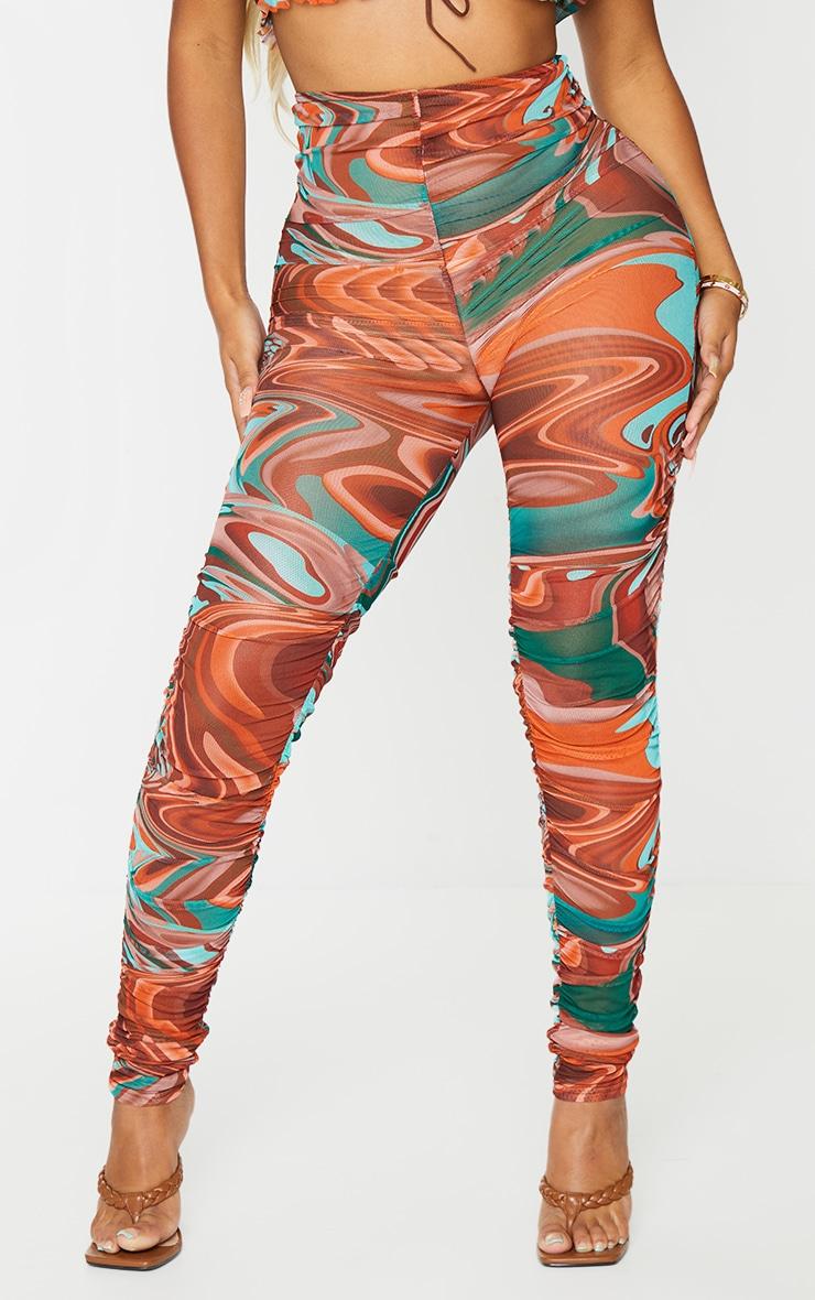 Shape - Legging en mesh transparent marron imprimé marbré froncé 2