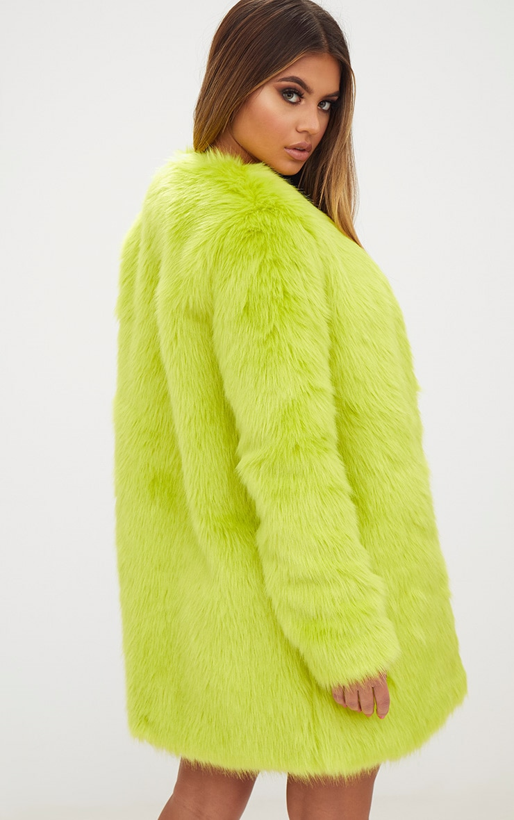 Lime Faux Fur Coat 2