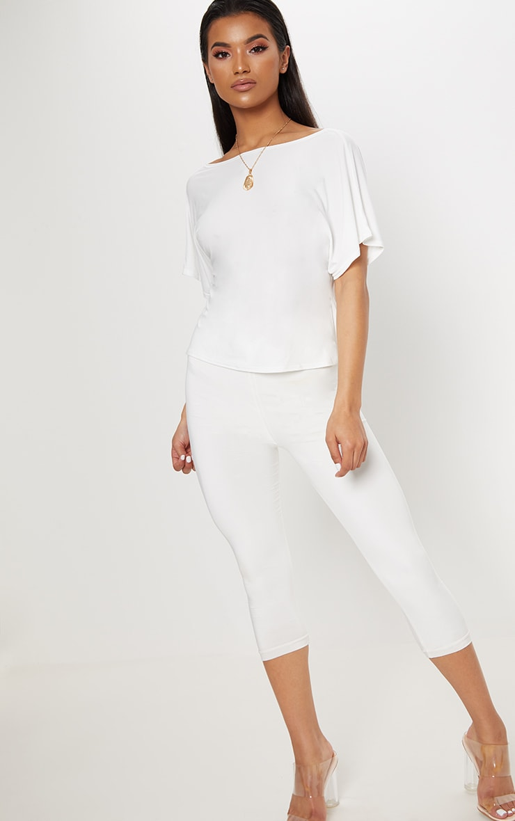 Cream Slinky Knot Back Batwing Crop Top 4