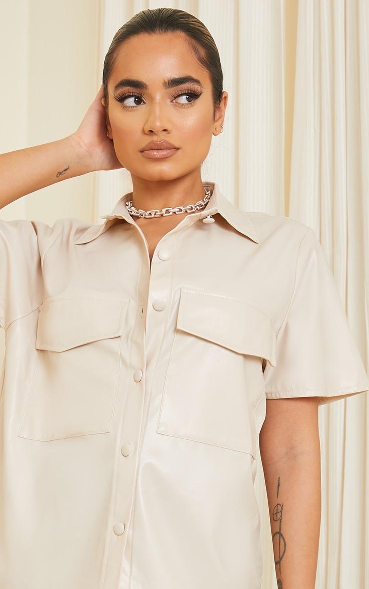 Petite Ecru Faux Leather Oversized Short Sleeve Shirt 4