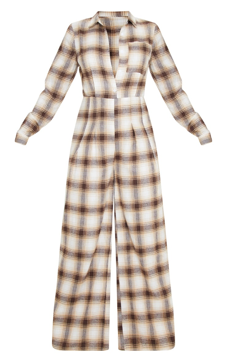 Beige Checked Oversized Wide Leg Jumpsuit 3