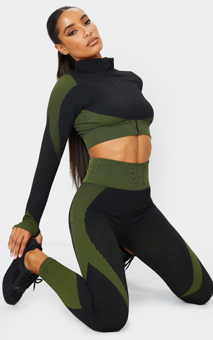 Black Multi Textured Cropped Zip Up Sports Top 3