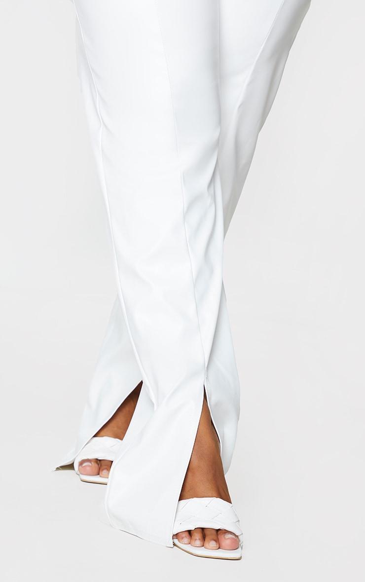 Plus Cream Faux Leather Seam Detail Split Hem Trousers 4