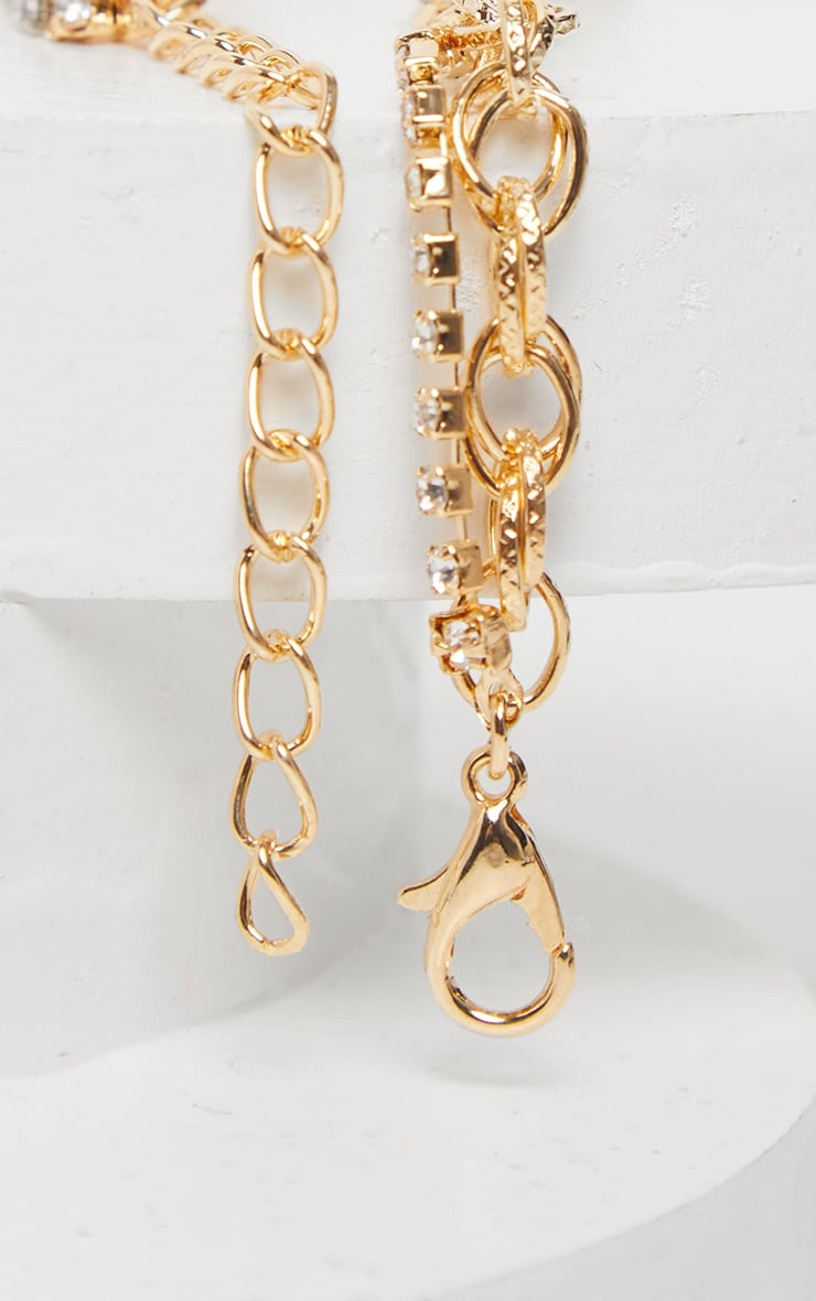 Gold Circle And Diamante Double Line Chain Anklet 4