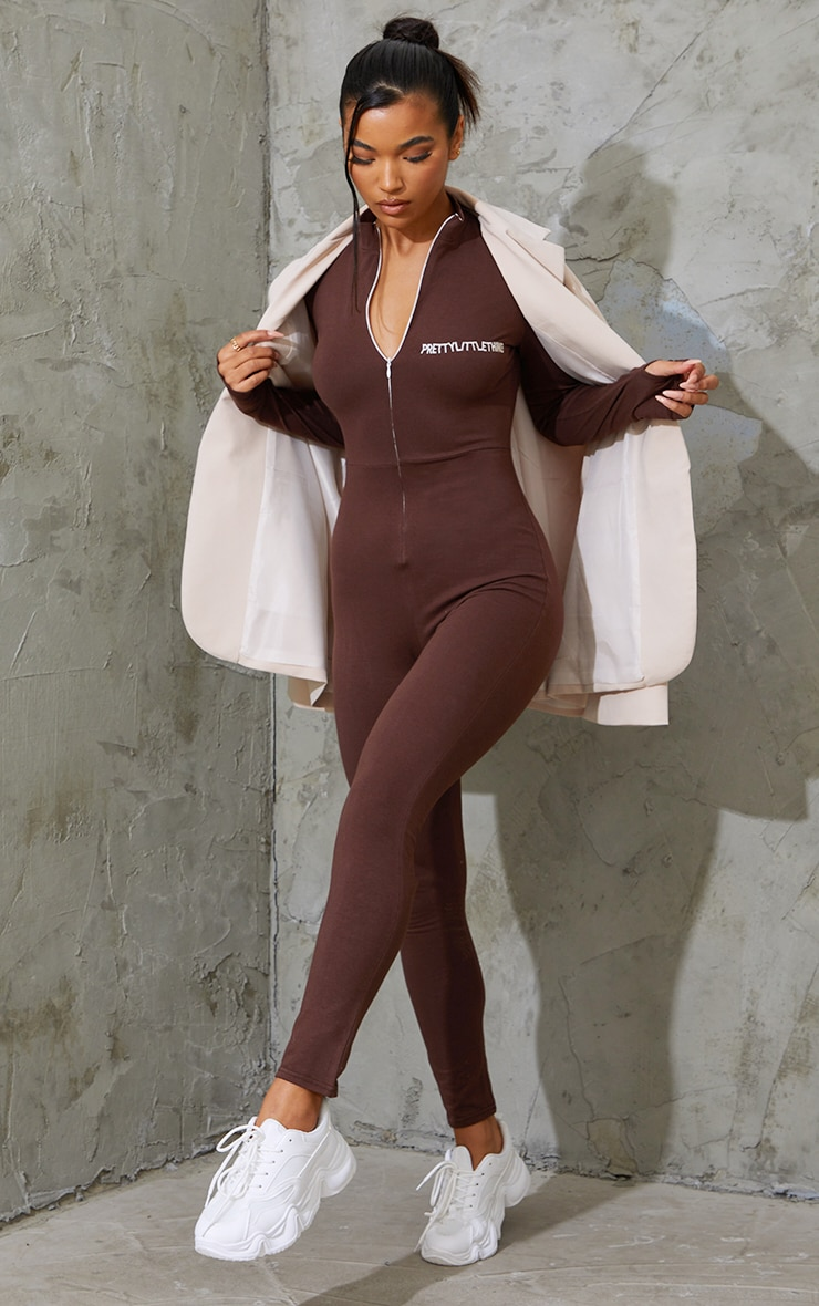 PRETTYLITTLETHING Chocolate Embroidered Zip Front Catsuit 1