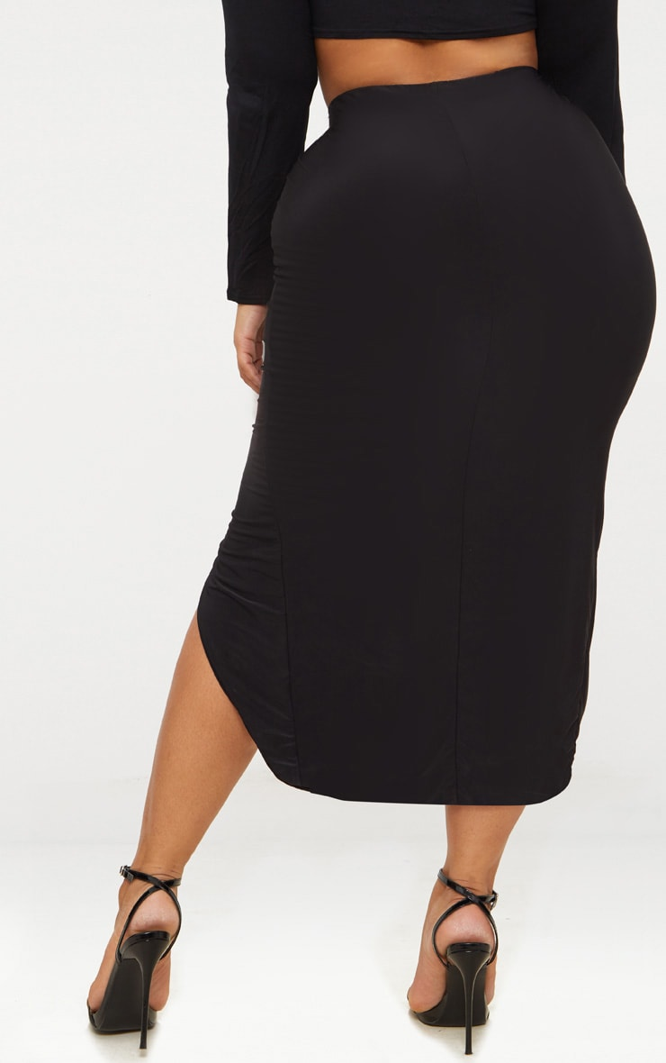 Plus Black Slinky Ruched Wrap Front Midi Skirt 4