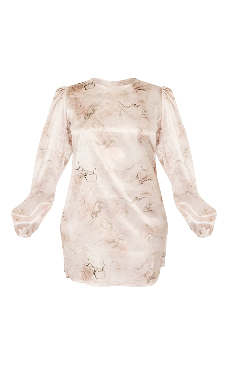 Petite Stone Satin Marble Print Smock Dress 5