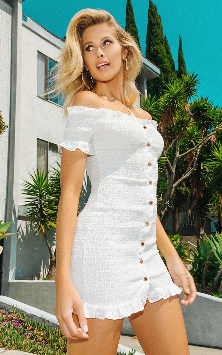 White Shirring Button Detail Bardot Bodycon Dress 1