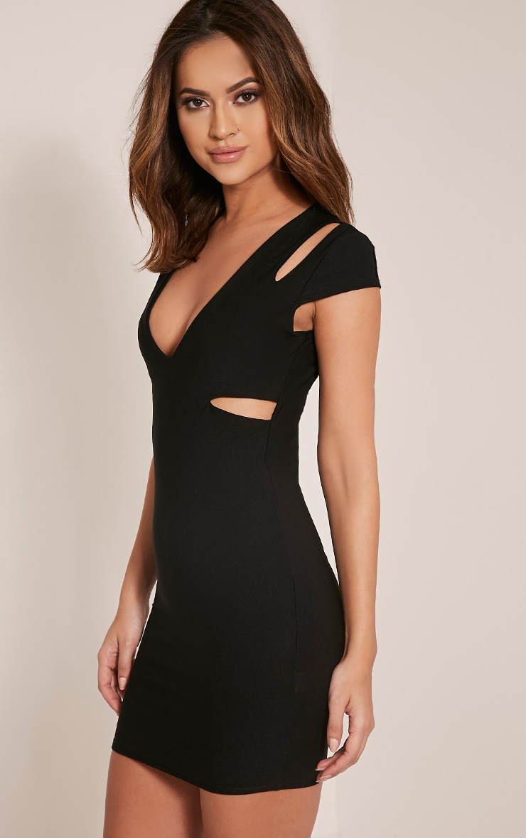Tamzie Black Cut Out Detail Capped Sleeve Bodycon Dress 8