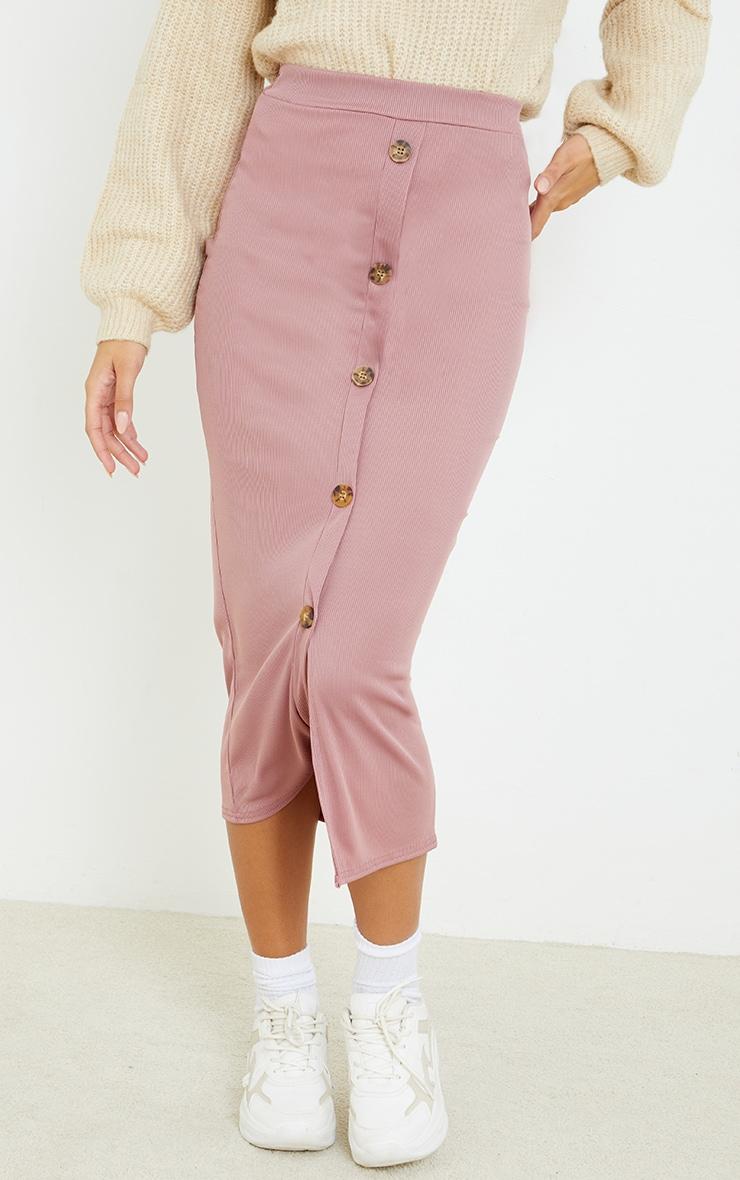 Mauve Rib Button Front Midaxi Skirt 2