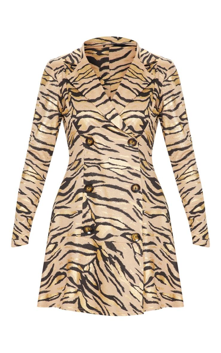 Stone Metallic Tiger Print Blazer Dress 3
