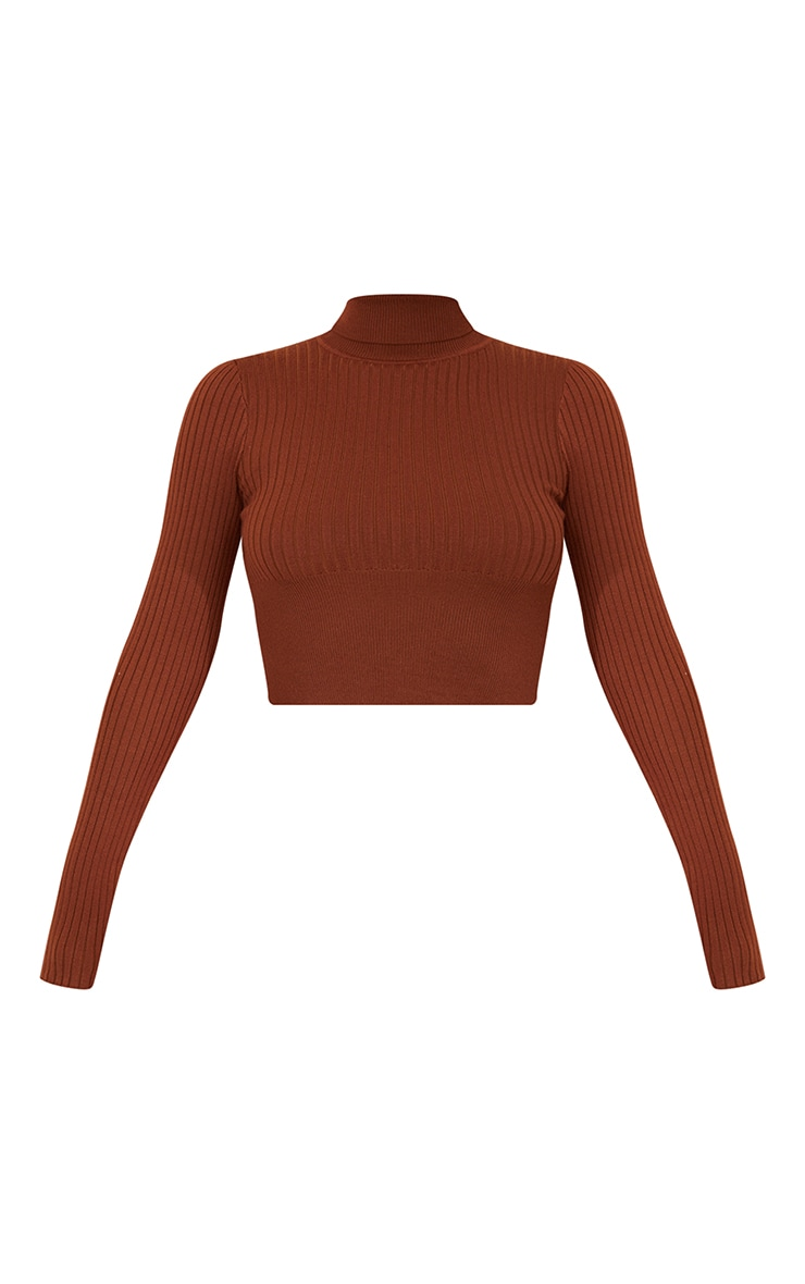 Rust Ribbed Knit Roll Neck Cropped Sweater 5
