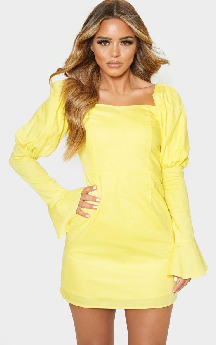 Petite Lemon Yellow Bardot Puff Shoulder Bodycon Dress 1