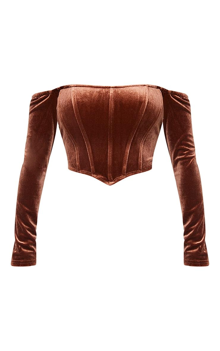 Shape Chocolate Brown Velvet Bardot Long Sleeve Corset 5