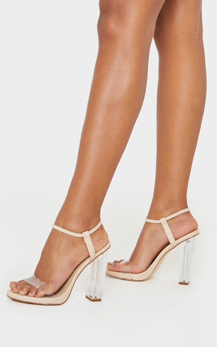 Nude Wide Fit Clear Block Heel Strappy Sandal 1