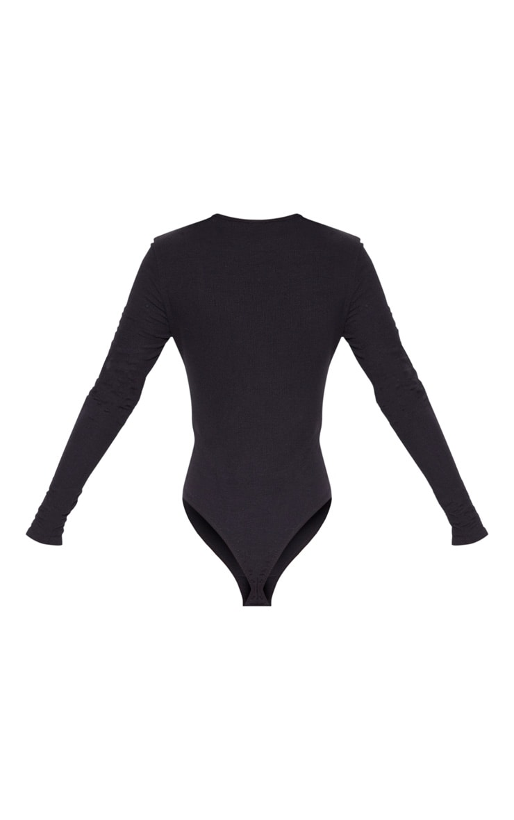 Black Soft Rib Popper Detail Long Sleeve Bodysuit 4