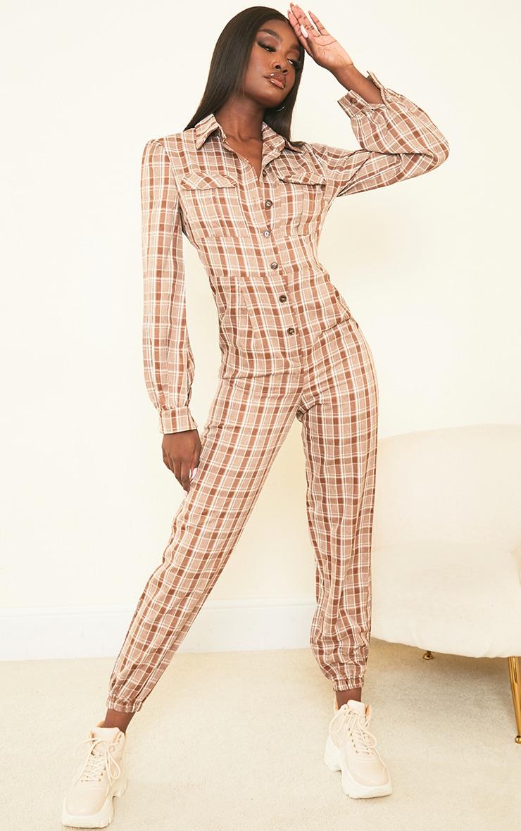 Tall Brown Check Pocket Detail Shirt Jumpsuit 3