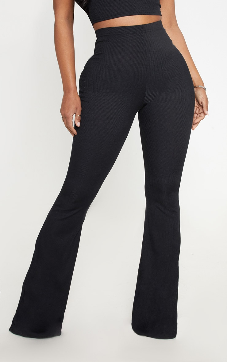 Shape Black Ribbed Flared Pants 2