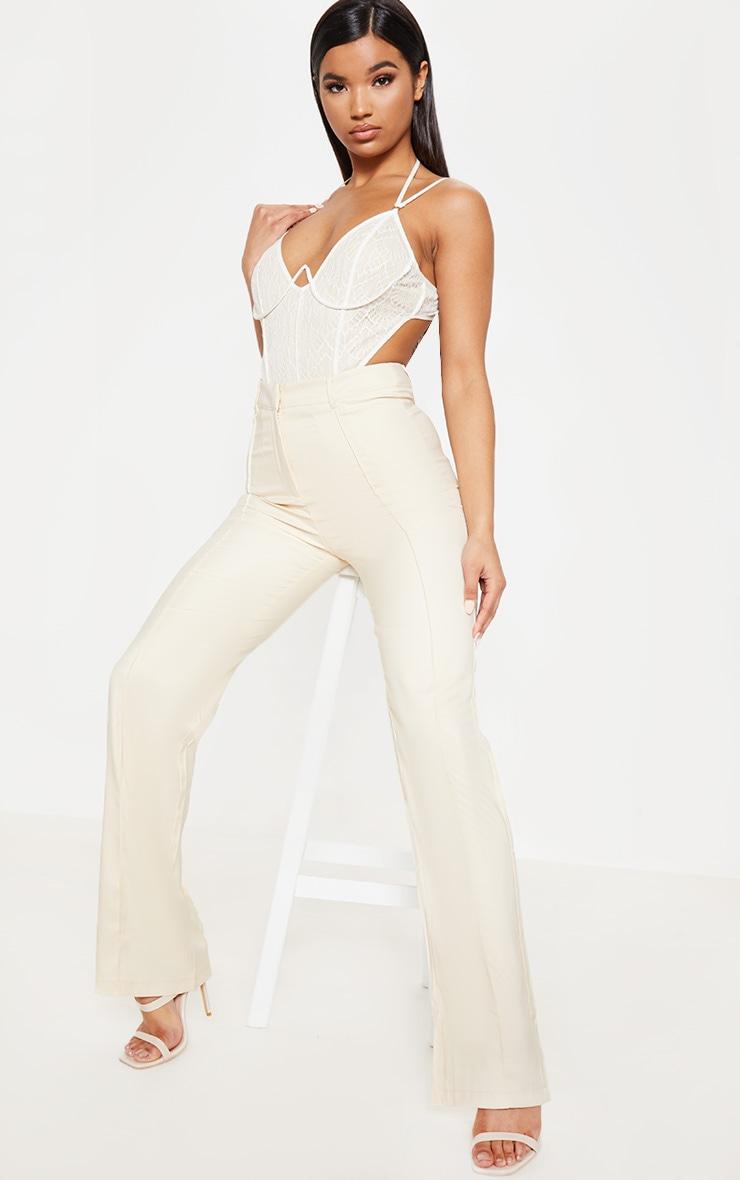 Cream Lace Mesh Wire Bodysuit 1