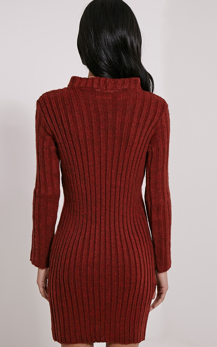 Kirby Rust Marl Long Sleeve Knitted Dress 2