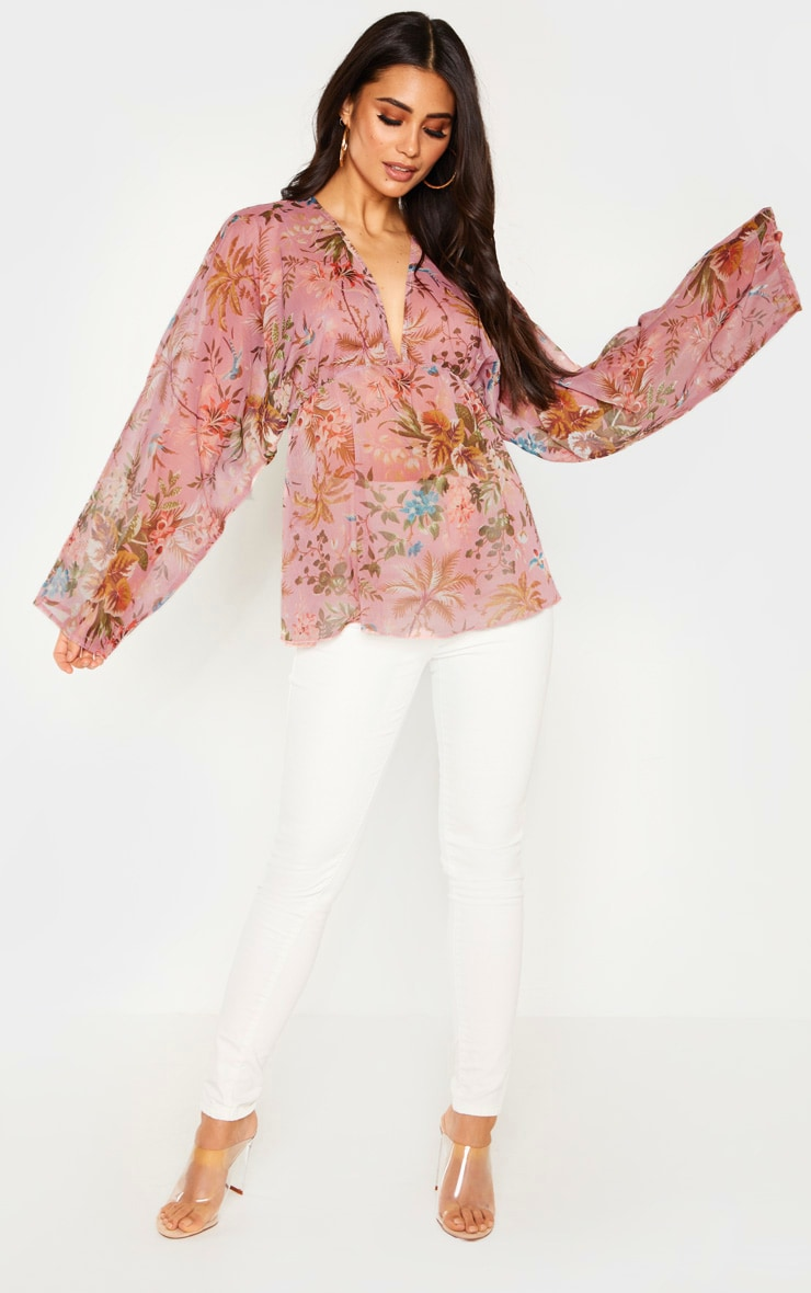 Pale Pink Floral Printed Plunge Ruched Sleeve Top 4