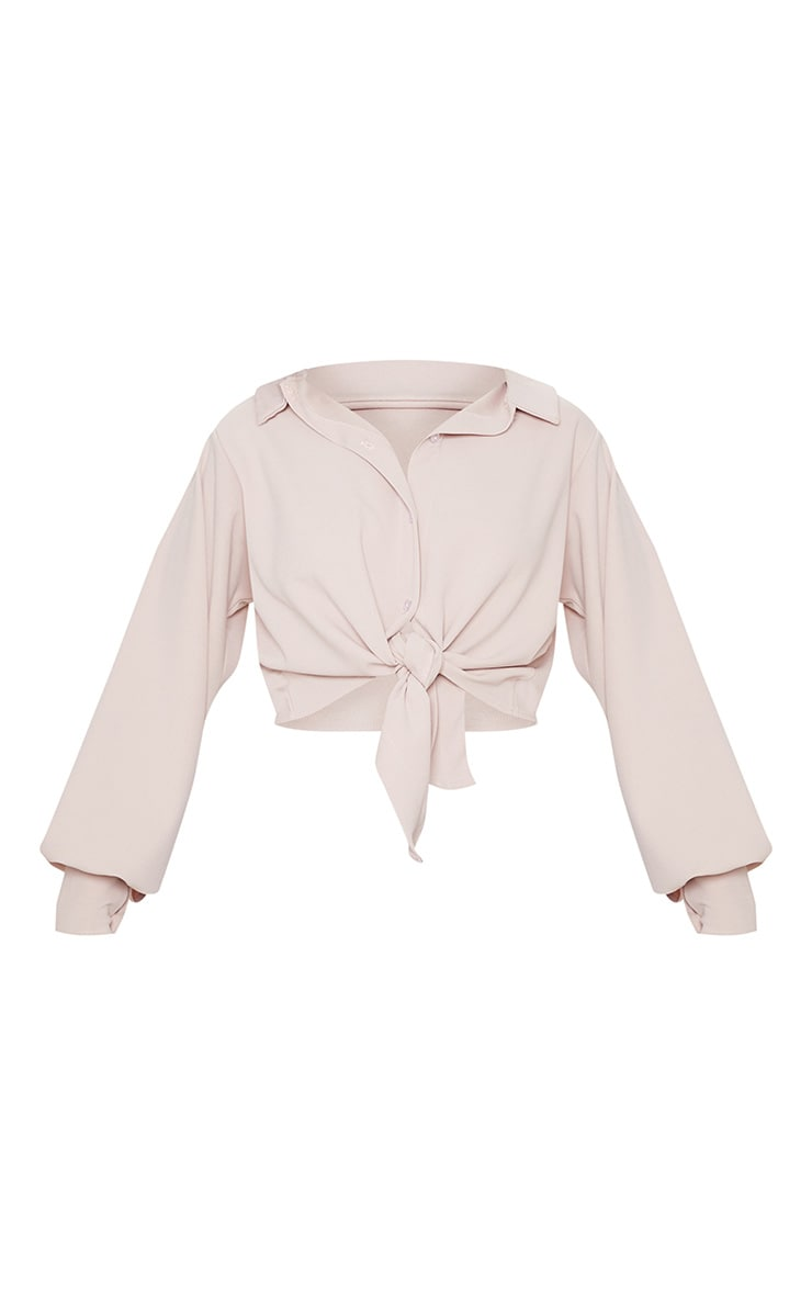 Blush Crepe Tie Front Crop Shirt 3