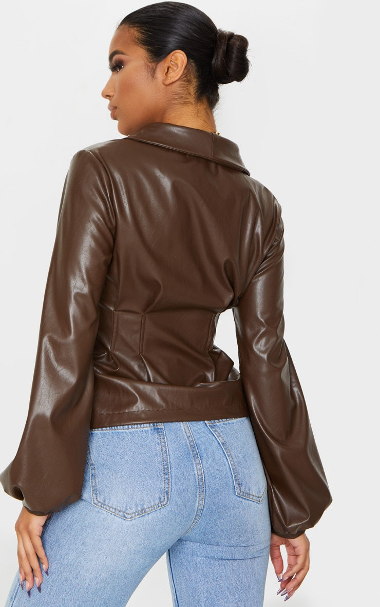 Chocolate PU Button Shirt 2