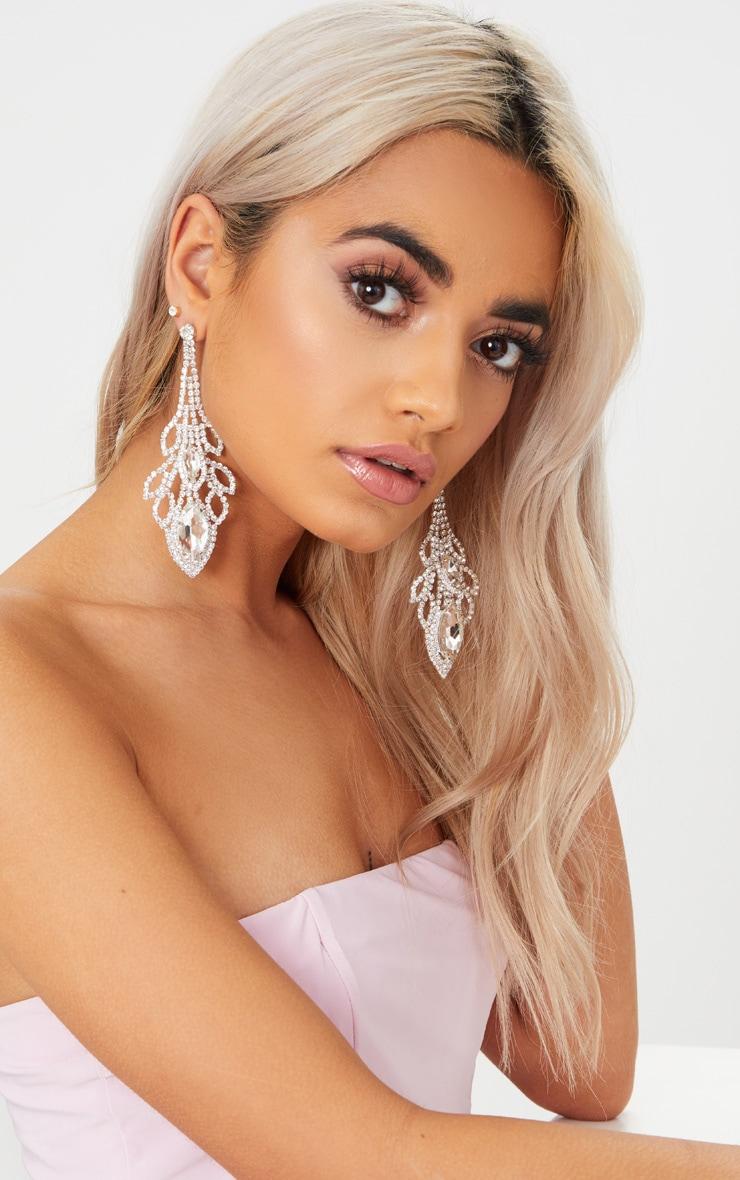 Silver Oval Diamante Drop Earrings 1