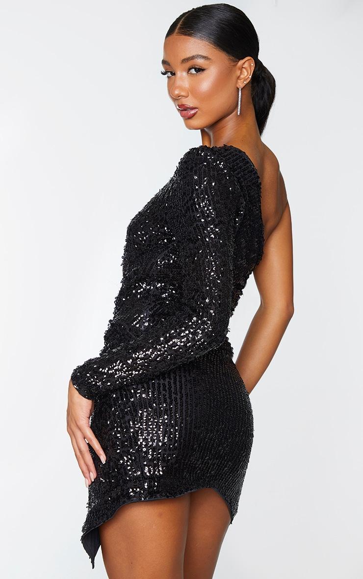 Black Sequin One Shoulder Wrap Skirt Bodycon Dress 2