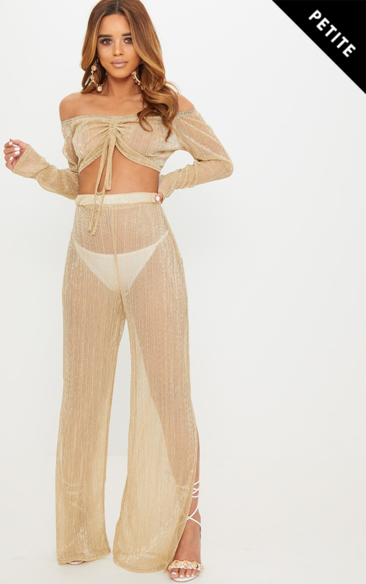 Petite Gold Metallic Wide Leg Trousers
