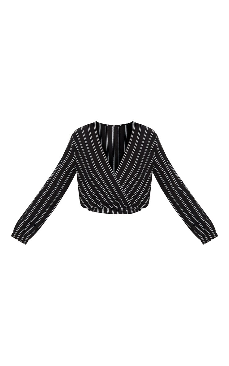 Black Stripe Drape Front Long Sleeve Top 3