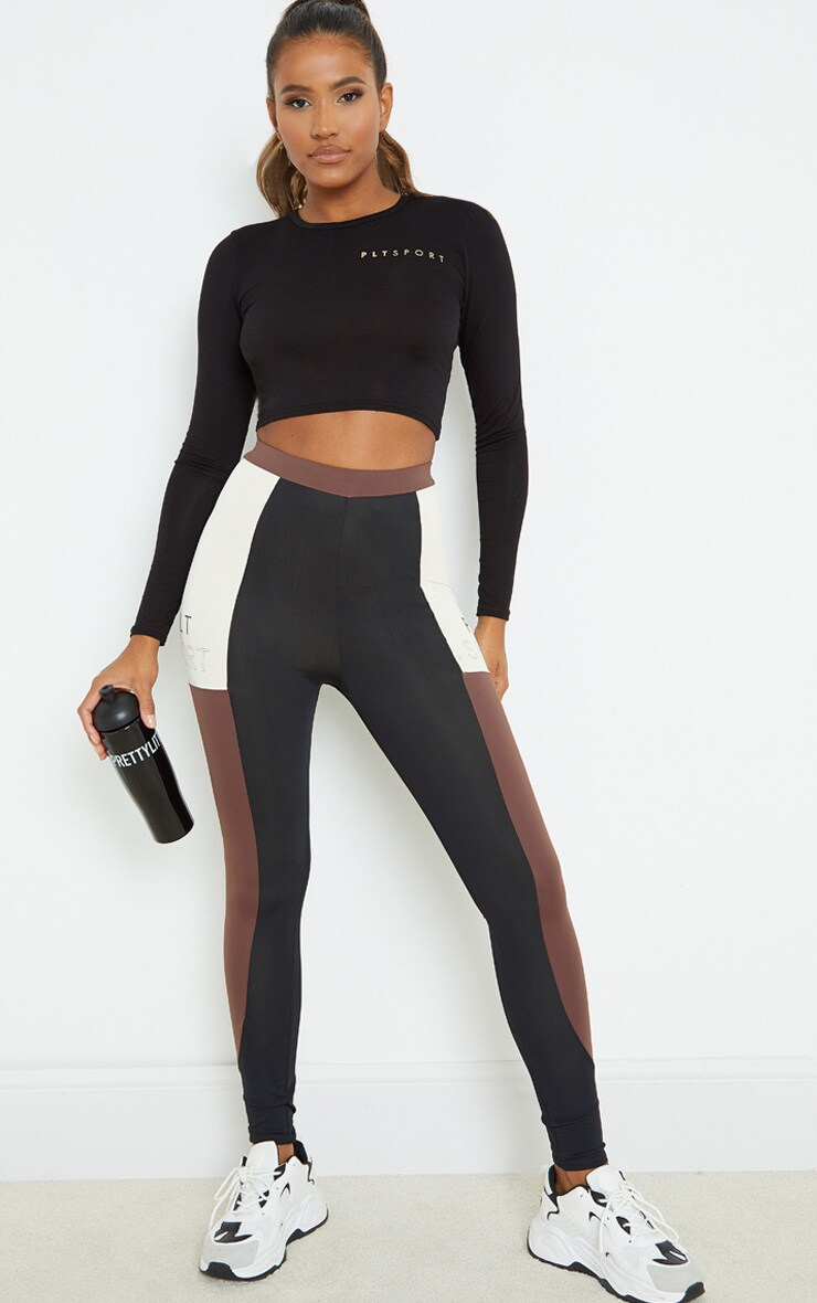 PRETTYLITTLETHING Black Knot Back Cropped Long Sleeve Gym Top 3