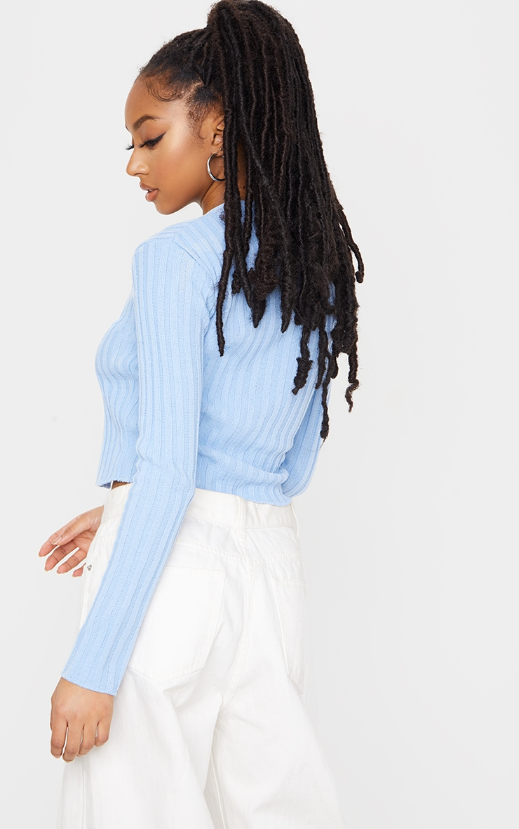 Baby Blue Double Ended Zip Wide Rib Knitted Top 2