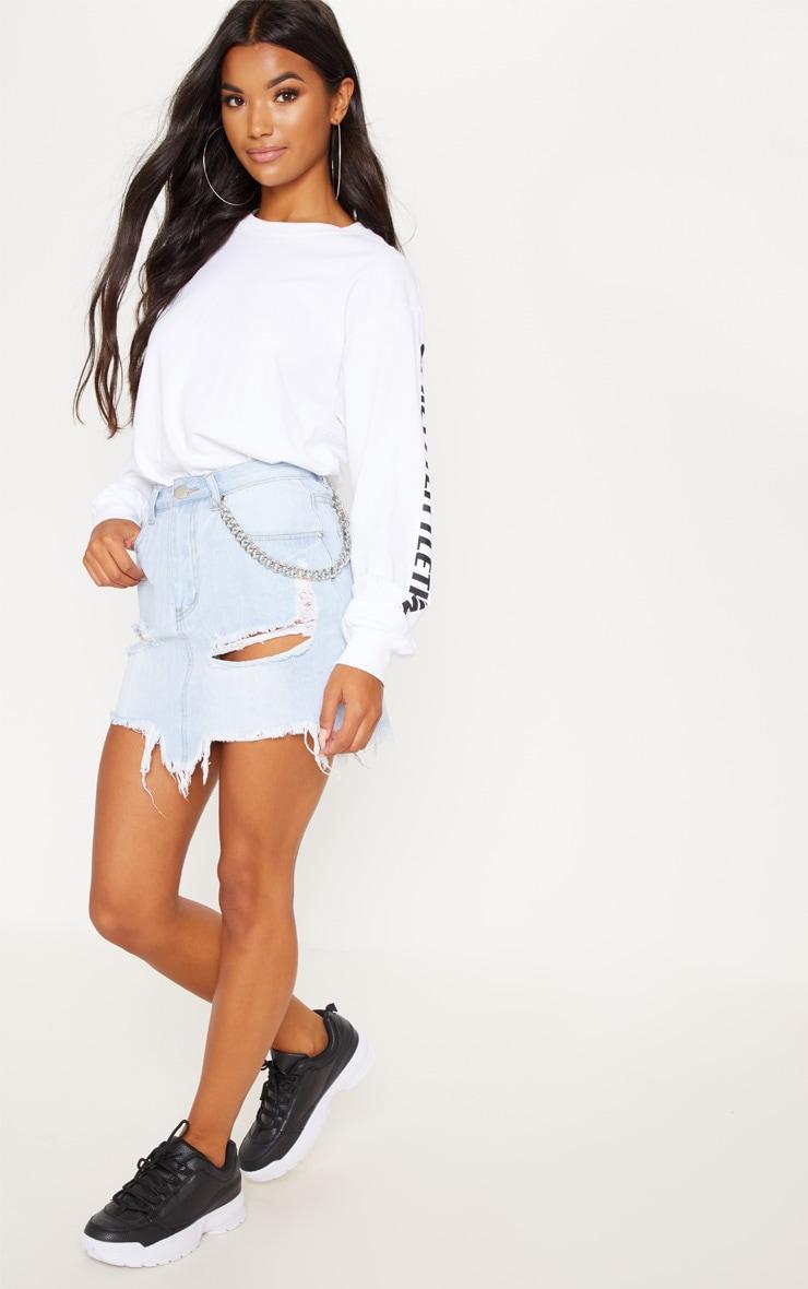 Light Wash Distressed Denim Mini Skirt 1