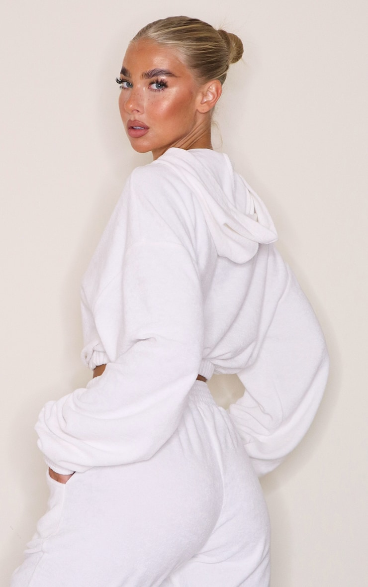 White Towelling Cropped Hoodie 2