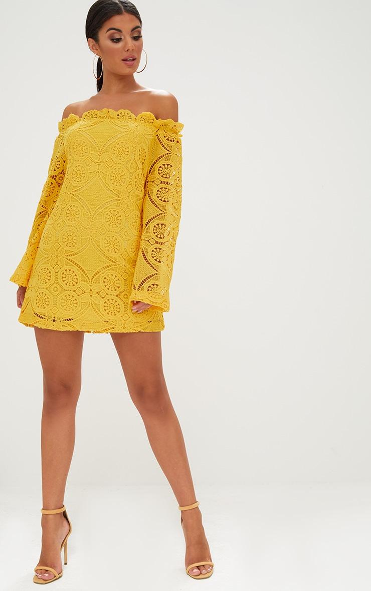 Gracie Yellow Bardot Lace Swing Dress 4