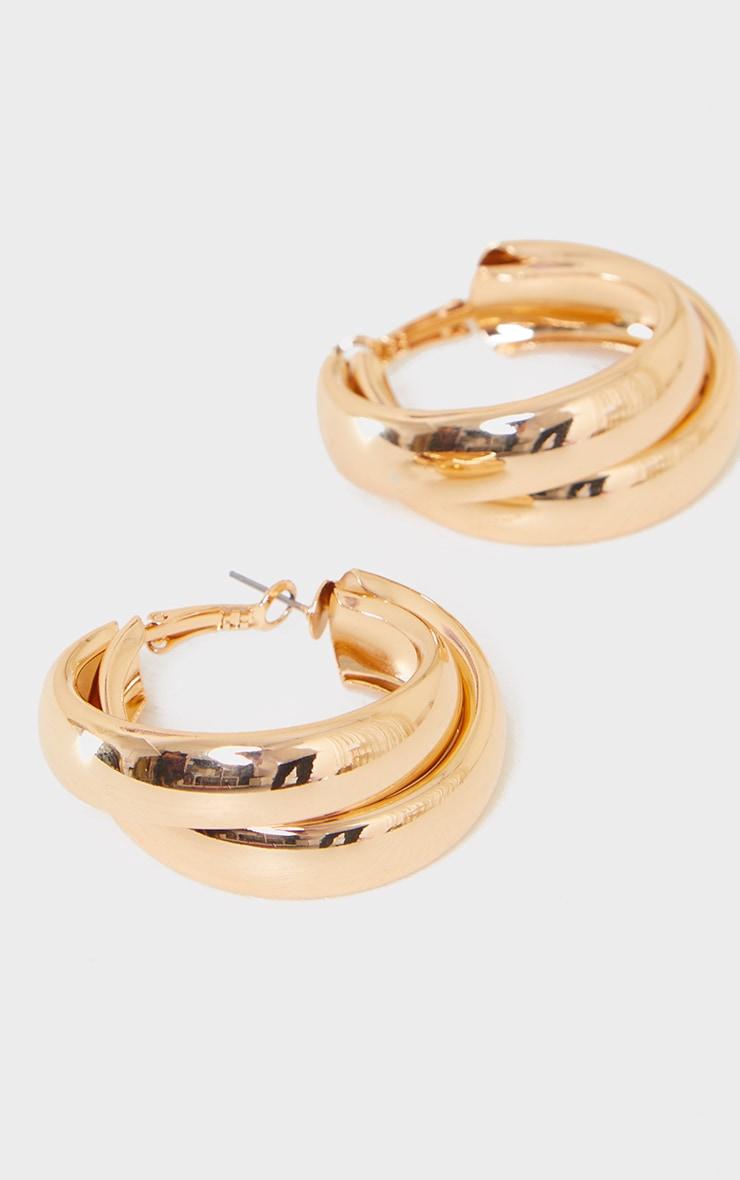 Gold Double Chunky Overlapped Hoop Earrings 3