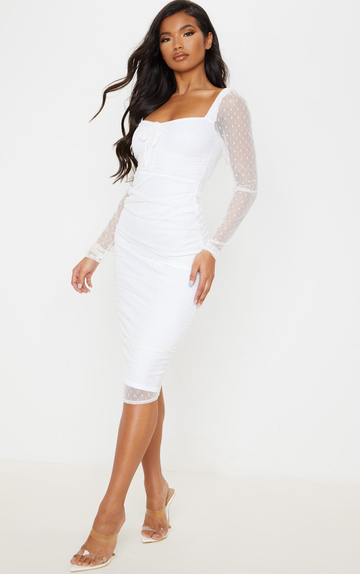 White Dobby Mesh Ruched Long Sleeve Midi Dress 4