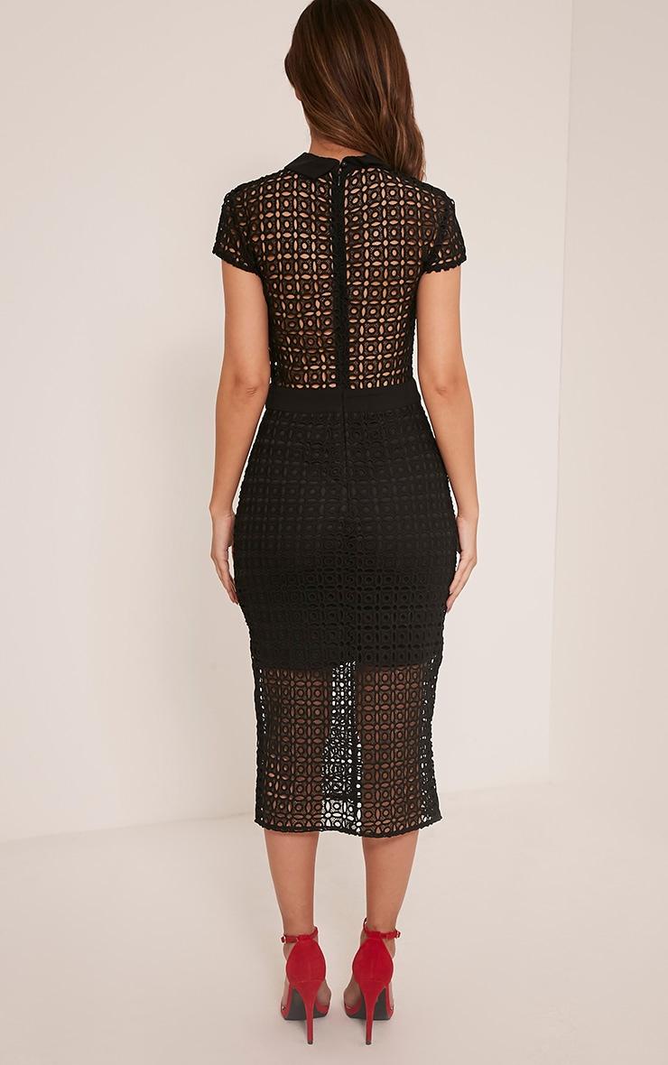 Becky Black Collar Detail Crochet Midi Dress 2
