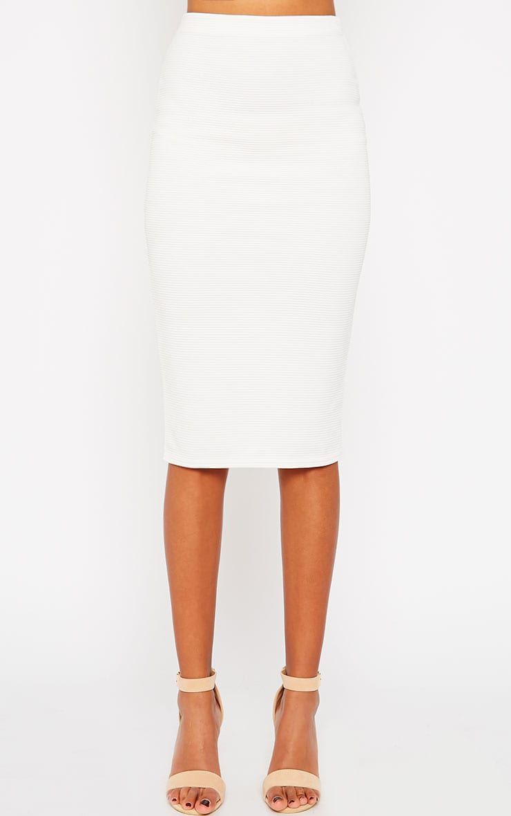 Morgan Cream Ribbed Midi Skirt 2