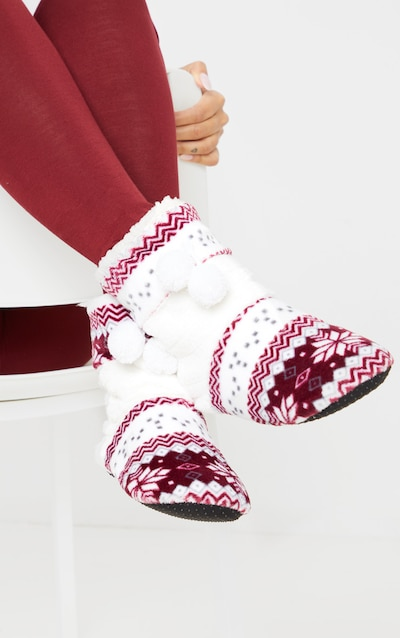 Red Christmas Fairisle Print Boot Slippers