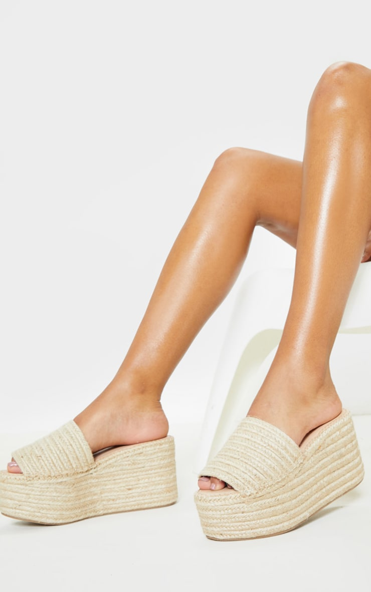 Natural Espadrille Double Platform Mule Sandal by Prettylittlething