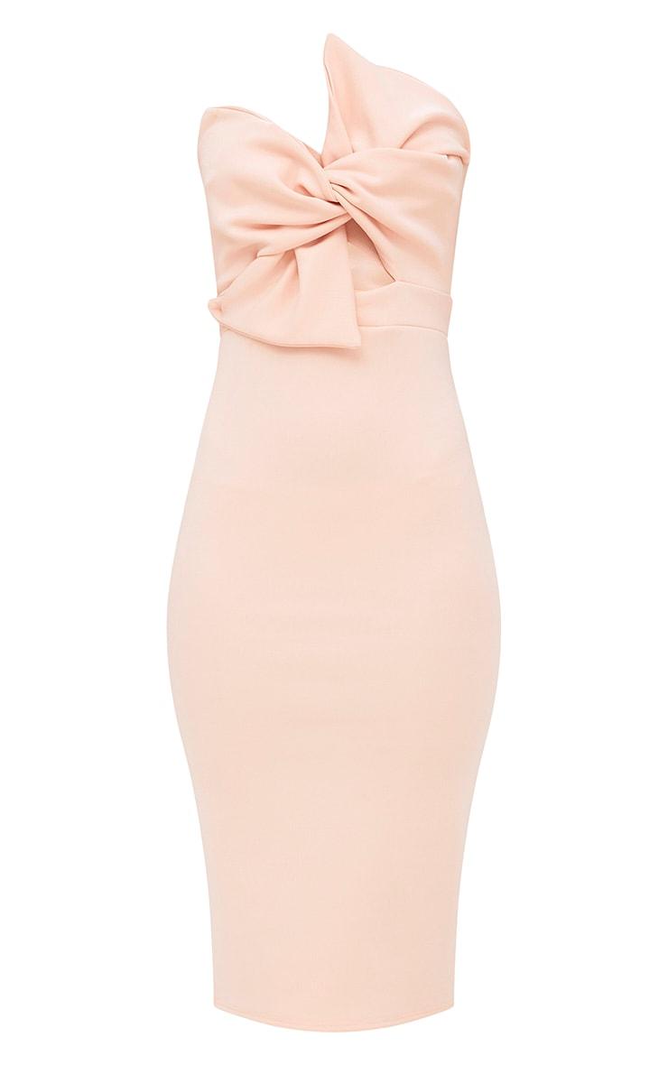 Nude Bow Detail Scuba Midi Dress 3