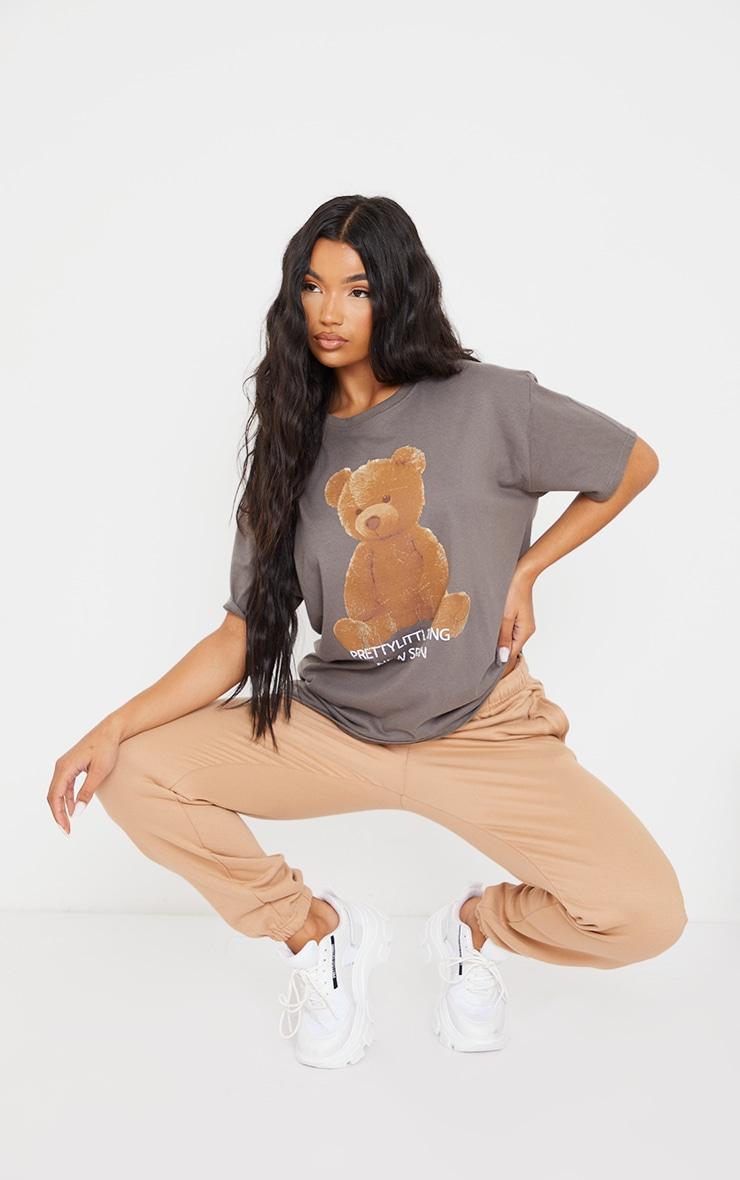 PRETTYLITTLETHING Charcoal Teddy Bear T Shirt 3
