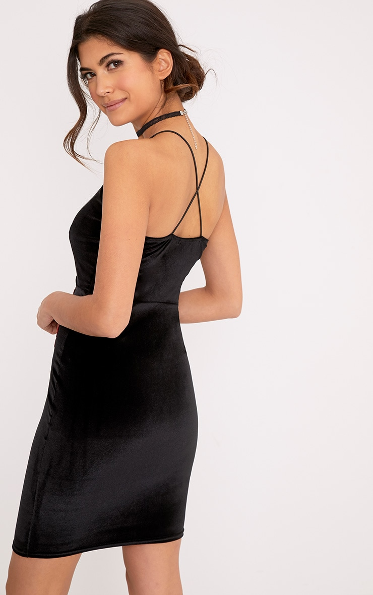 Teigan Black Applique Detail Velvet Bodycon Dress 2